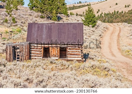 A well-built log home with a metal roof surrounded with sage brush and gray horsebrush stands beside a dirt road in a Montana ghost town - stock photo