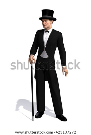 A well dressed man of the Edwardian Era (early 1900's) - 3d render. - stock photo