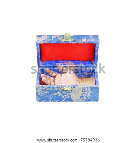 A well preserved decapitated hand in a colorful ornamental box isolated against white background.