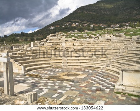 A well preserved theater in ancient Messina in Peloponnese Greece, - stock photo