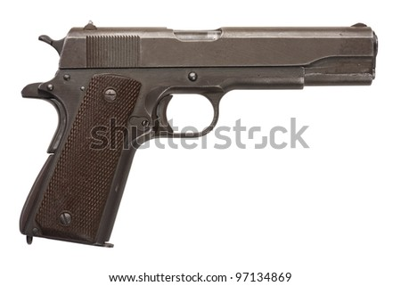 A well used American-made .45 1911A1 semi-automatic military pistol from World War Two.