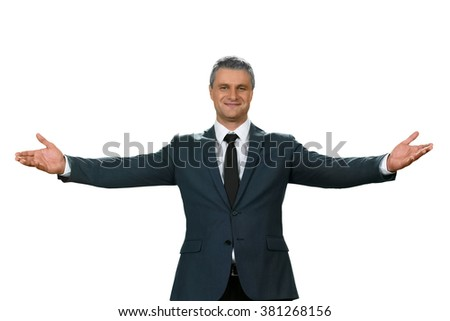 A wellcoming official. Glad to see you guys. Adult man welcomes the team. It's all for you. - stock photo