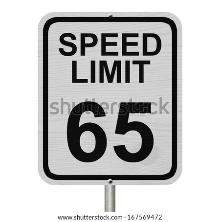 A white American road sign with words Speed Limit and 65 isolated over white, Speed Limit 65 Sign - stock photo