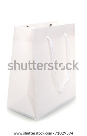 a white bag on a white background - stock photo