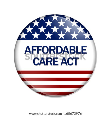 A white button with words Affordable Care Act isolated on white, Affordable Care Act Button - stock photo