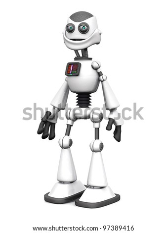 A white cartoon robot standing and smiling. White background.