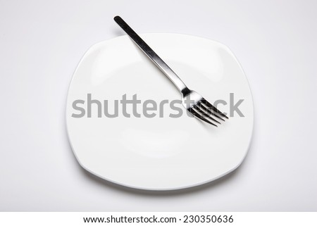 A white circle dish(plate) and fork isolated white at the studio. - stock photo