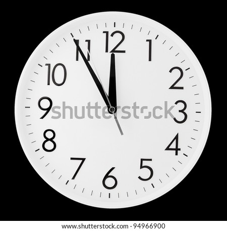 a white clock - five minutes to twelve, clipping path - stock photo
