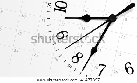 A white clock with numbers is against a calendar background displaying dates of a month. Can represent an appointment schedule or a deadline. - stock photo