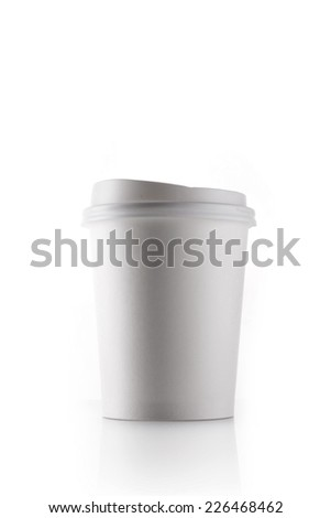A white coffee cup for take out isolated white. - stock photo