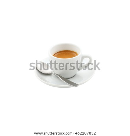 a white cup of single shot espresso on white background