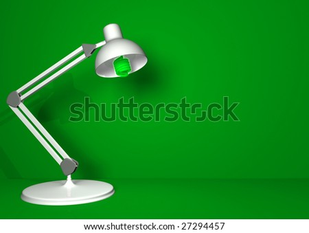 A white desk lamp with a compact fluorescent lamp in a green room. - stock photo