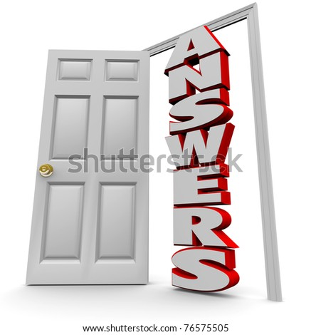 A white door opens to reveal the word answers, representing the successful search for solutions to complex questions - stock photo