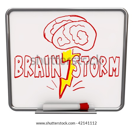 A white dry erase board with red marker, with the word Brainstorm drawn with a brain and lightning bolt - stock photo