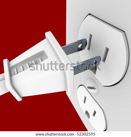 A white electrical power cord about to plug into a wall outlet - stock photo