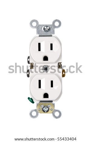 A white electrical power outlet isolated on white. - stock photo