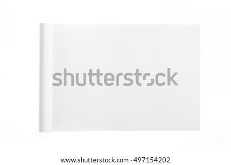 A white empty(blank) spread note isolated white.