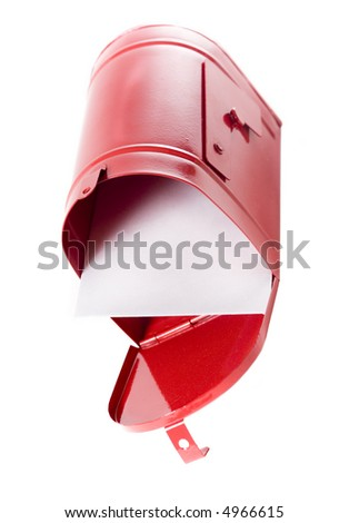 A white envelope inside a red mailbox - stock photo