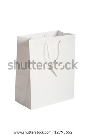 A white gift-bag or sack with copy space for information
