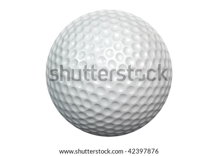 A white golf ball isolated on white background including clipping path - stock photo