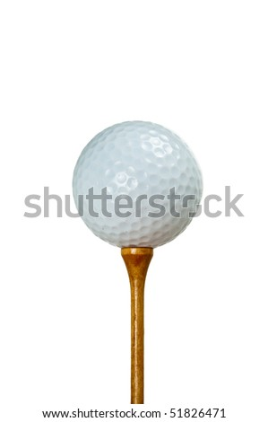 A white golf ball sitting on a wooden tee