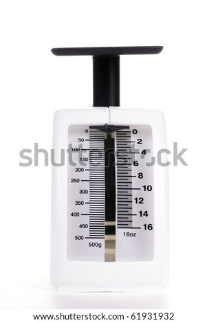 A white kitchen scale with black numbers on a white background
