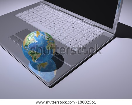 A white laptop with Earth globe - rendered in 3d
