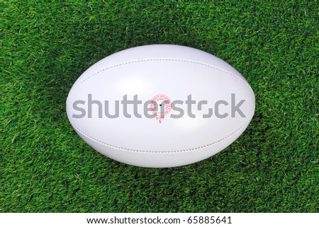 A white leather rugby ball on grass. - stock photo