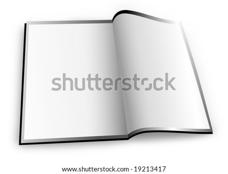 A white magazine / booklet is opened up with blank space to add your text. - stock photo