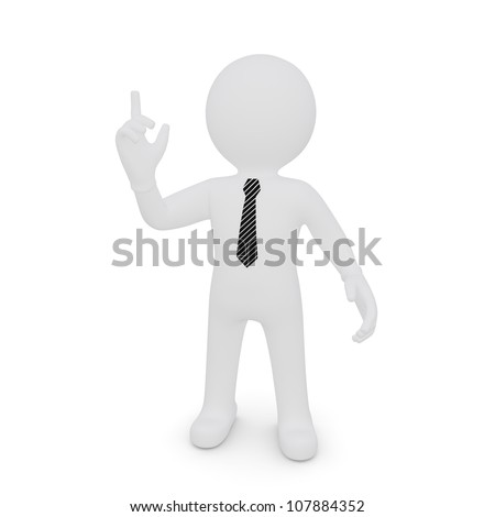 A white man with a raised index finger. isolated on white background