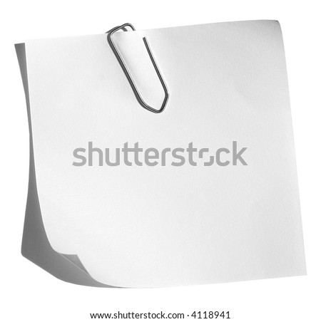 A white memo with a paper clip isolated on a white background. - stock photo