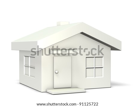 A white model house . This is a computer generated image,on white background. - stock photo