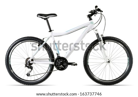 a white mountain bike isolated before white background