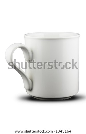 A white mug. Isolated on white with path. - stock photo