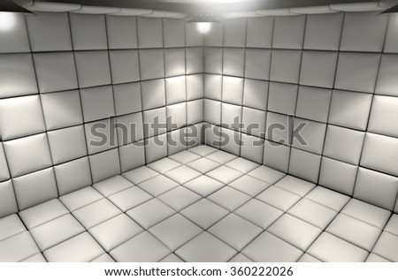A white padded cell in a mental hospital - stock photo