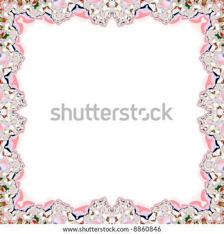 A white page with lacy fractal frame - stock photo