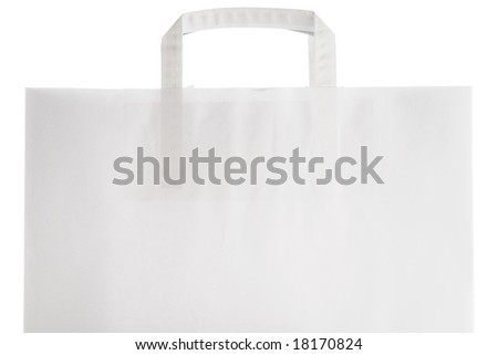 a white paper bag top with handles on white