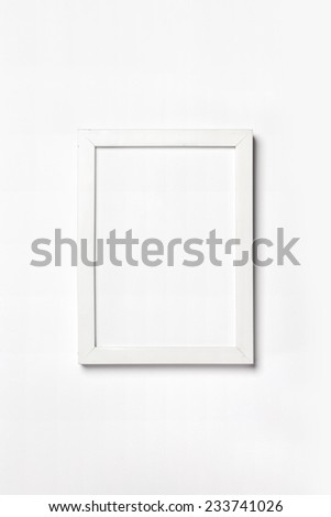 A white photo(picture) frame isolated white, top view at the studio.  - stock photo