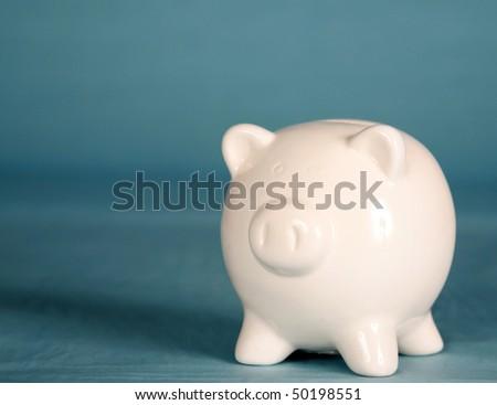 a white piggy bank - stock photo