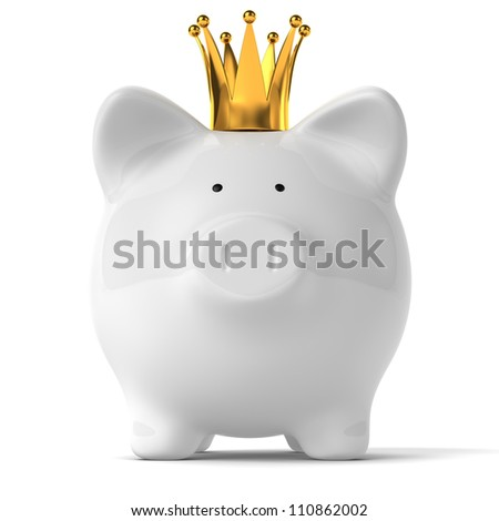 A white piggy bank wearing a golden crown. - stock photo