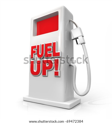 A white pump with red screen and the words Fuel Up on its front - stock photo