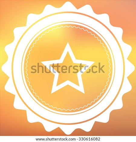 A White Retro Icon Isolated on a Red and Yellow Background - Star