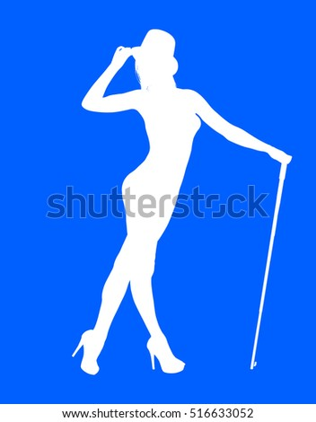 A white silhouette of a young female model holding a cane in a sexy pose wearing nothing but a top hat and high heel shoes against a blue background.
