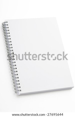a white spiral binding notebook on white - stock photo