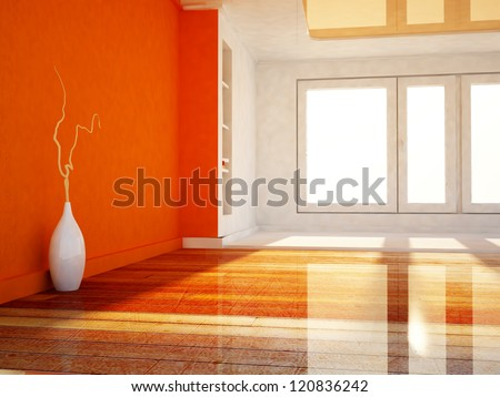 a white vase in the empty room, rendering - stock photo