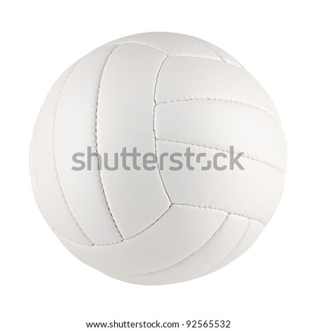 a white volleyball on white background - stock photo