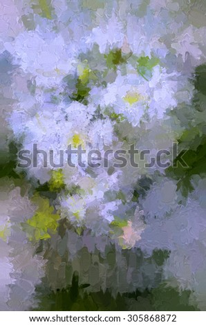 A white wildflowers bouquet photograph transformed into an abstract digital painting - stock photo