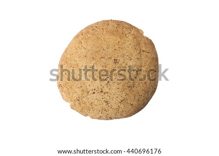 A whole cinnamon sugar cookie or snicker doodle isolated on white.