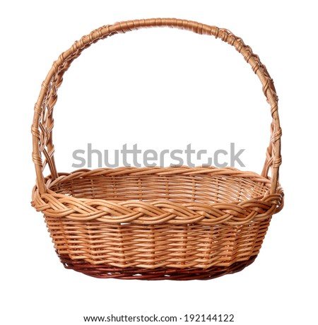 A wicker basket with handle,  isolated on white background