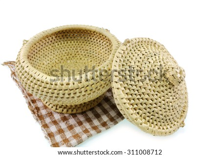 A wicker Rice on white background